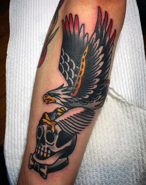 Traditional Eagle Bird Skull Guys Outer Forearm Tattoo