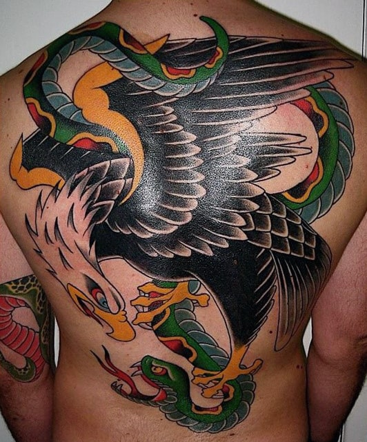 Traditional Eagle Snake Mens Back Tattoos