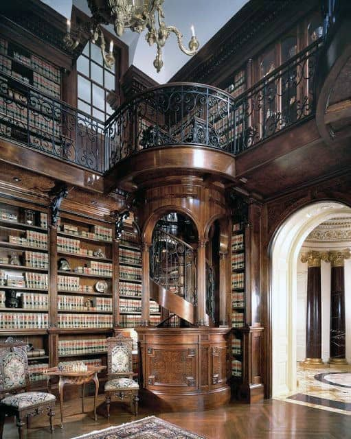 Traditional Elegant Wood Home Library Design Ideas
