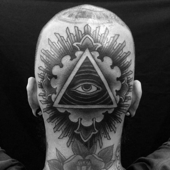 Traditional Eye Of Providence Mens Back Of Head Tattoo