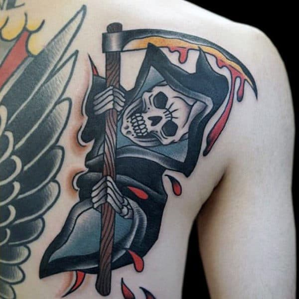 Traditional Flying Skull Witch Tattoo Mens Chest