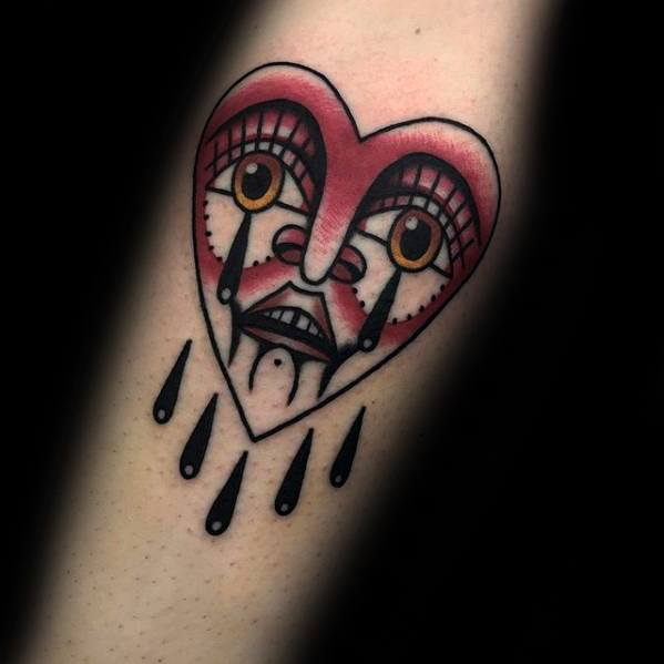 Traditional Forearm Amazing Mens Crying Heart Tattoo Designs