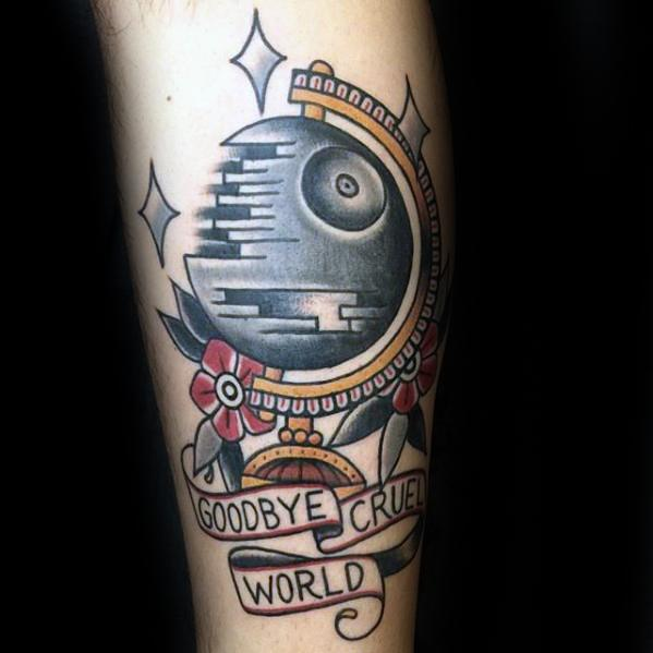Traditional Forearm Globe Death Star Mens Tattoo Designs