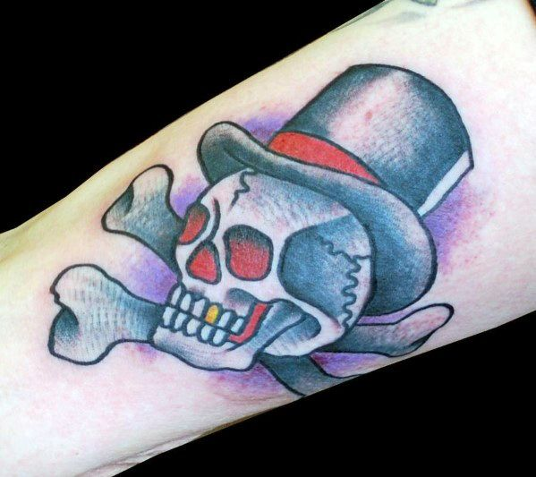 Traditional Forearm Male Skull With Top Hat And Crossbones Tattoo Design Inspiration