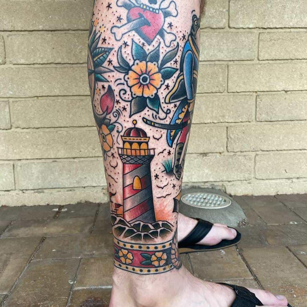 Traditional fusion ink leg sleeve tattoo