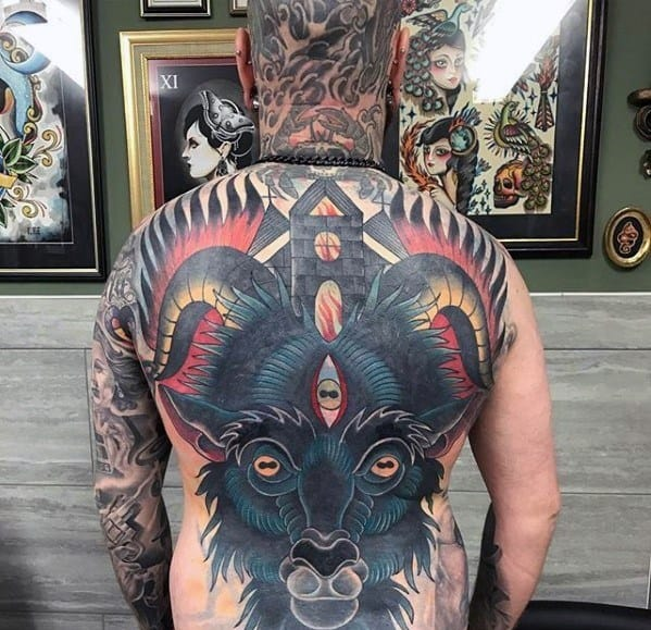 Traditional Goat Church Mens Full Back Cover Up Tattoo Designs