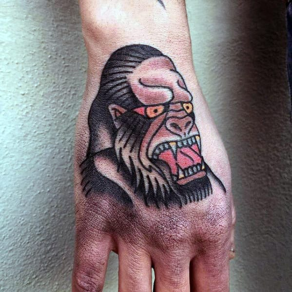 Traditional Gorilla Mens Hand Tattoo