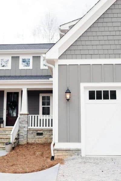 Traditional Grey And White Siding Designs For House Paint