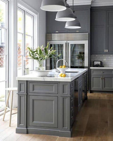 Traditional Grey Kitchen Cabinet Ideas With Hardwood Flooring