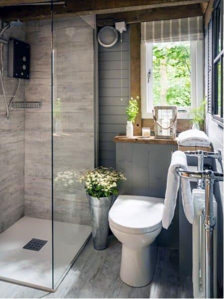 Top 70 best rustic bathroom ideas vintage designs for Gray rustic bathroom
