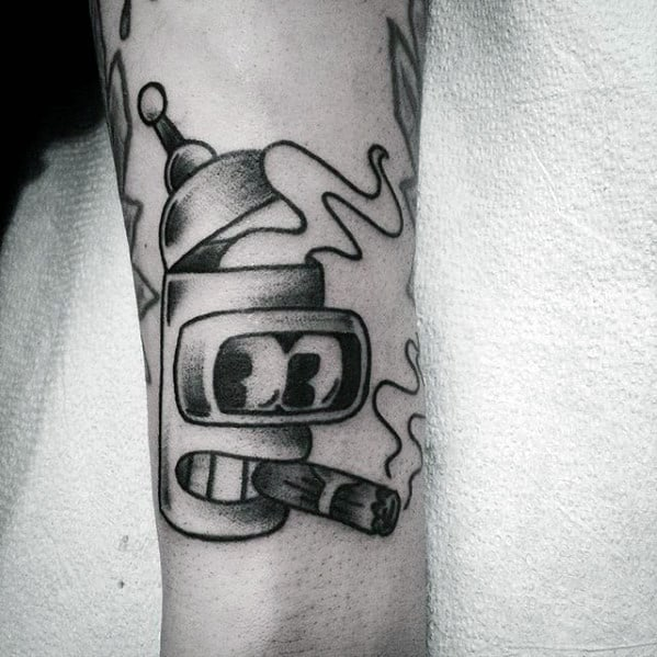 Traditional Guys Bender Robot Head Tattoo On Forearm