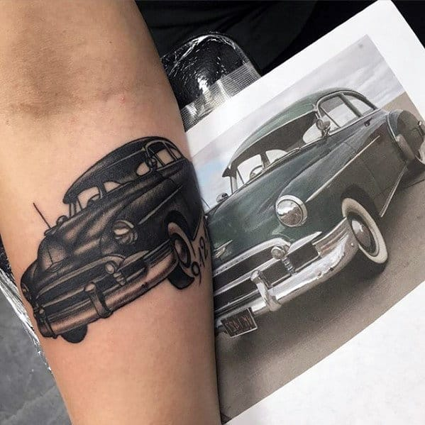 Traditional Guys Chevy Car Tattoo On Inner Forearm