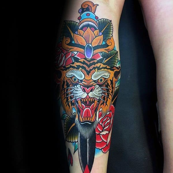 Traditional Guys Dagger Orange Tiger Leg Tattoo Ideas