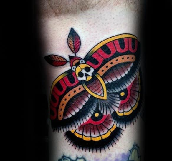 Traditional Guys Decorative Moth Arm Tattoo Ideas