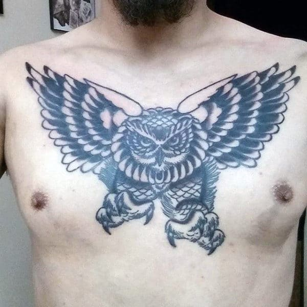 Traditional Guys Flying Owl Upper Chest Tattoo Inspiration