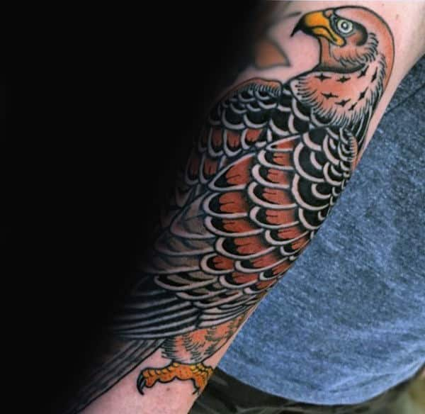 Traditional Guys Forearm Falcon Tattoos