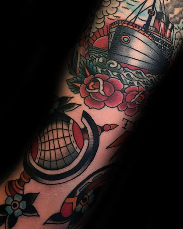 Traditional Guys Globe Forearm Tattoo Designs