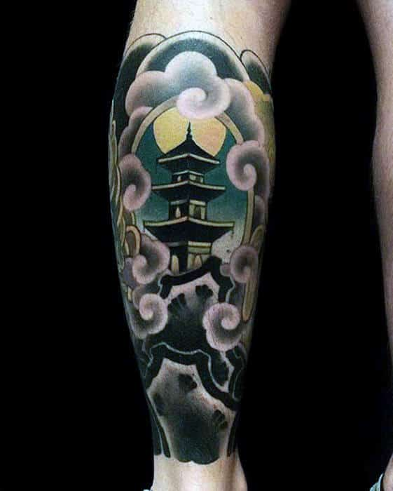 Traditional Guys Japanese Tattoo Of Template On Back Of Leg
