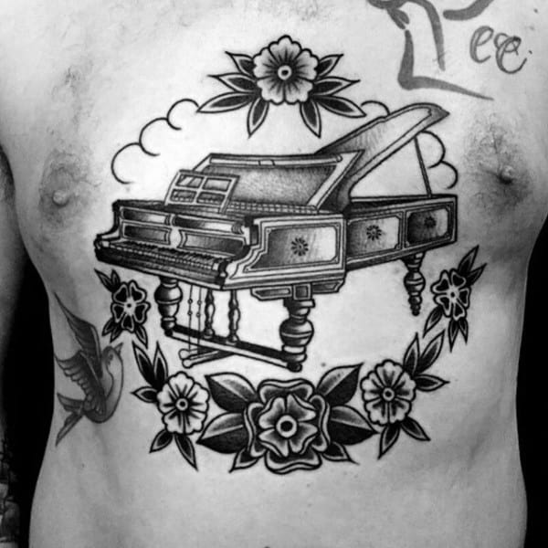 Traditional Guys Old School Piano With Flowers Chest Tattoos