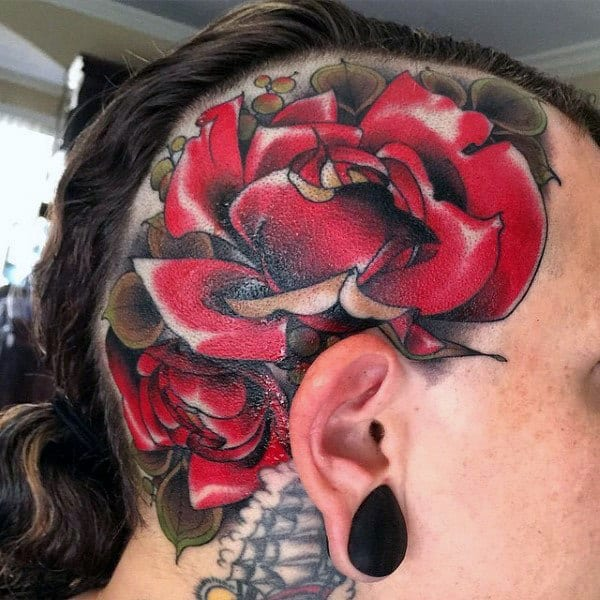 Traditional Guys Red Rose Flower Head Tattoos