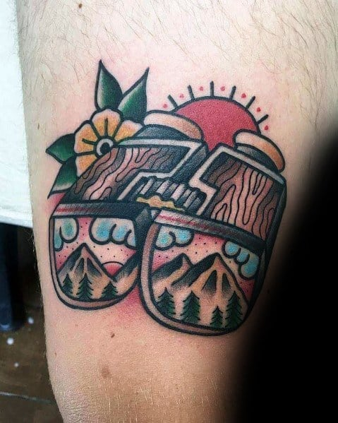 Traditional Guys Tattoo Binoculars On Arm