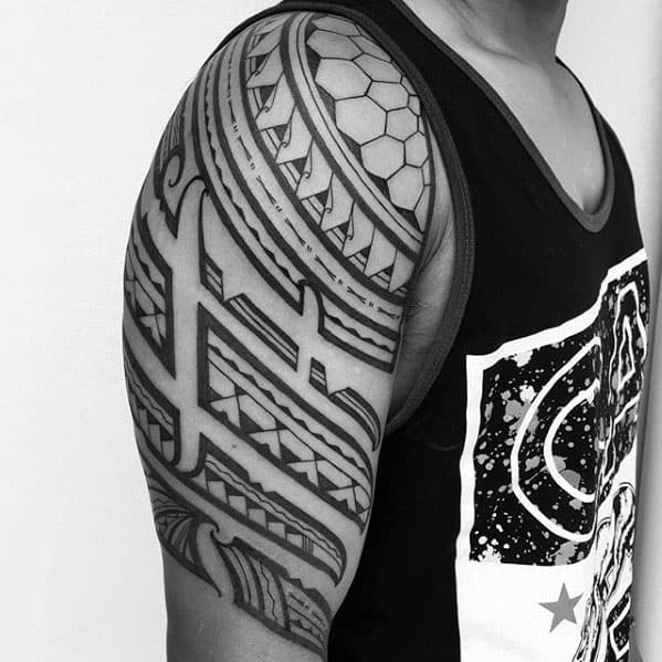 Traditional Guys Tribal Polynesian Tattoo Half Sleeve