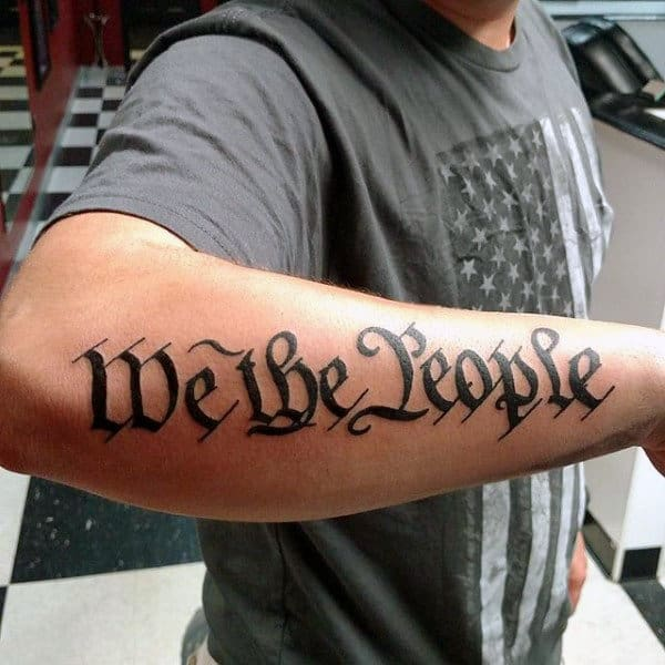 Traditional Guys We The People Patriotic Outer Forearm Tattoo
