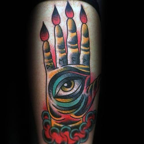 Traditional Hand With Eye Abstract Thigh Tattoos