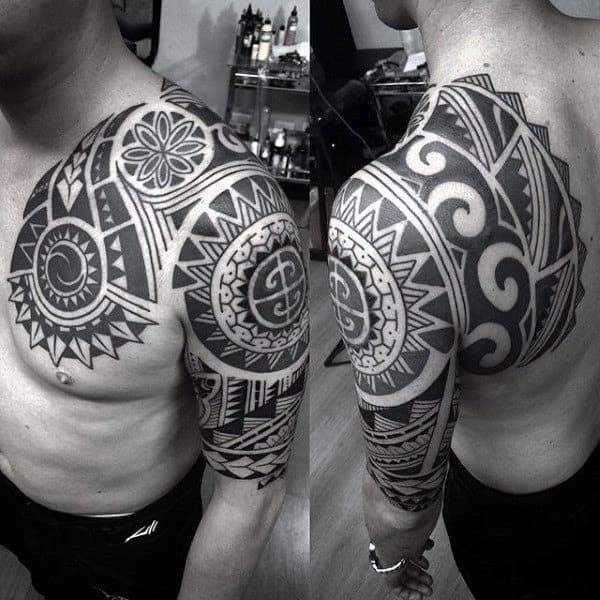 Traditional Hawaiian Male Half Sleeve And Chest Tattoo Designs