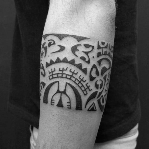 Traditional Hawaiian Tribal Armband Tattoo Designs For Guys