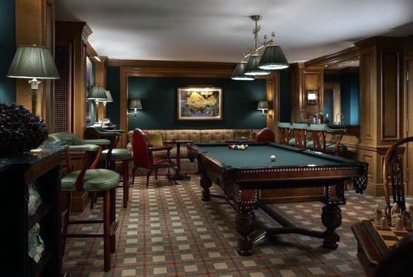 Traditional Home Basement Billiards Room Inspiration
