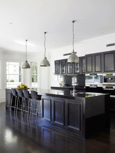 Traditional Home Black Kitchen Cabinet Design Inspiration