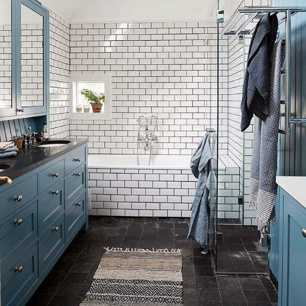 Traditional Home Blue Vanity Bathroom Ideas