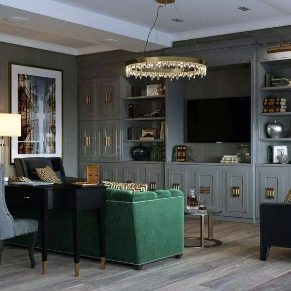 Traditional Home Grey Painted Bookcases And Cabinets Interior Television Wall Designs