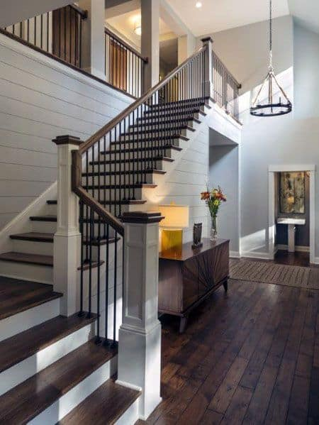 Traditional Home Ideas For Wood Stairs With Shiplap Walls
