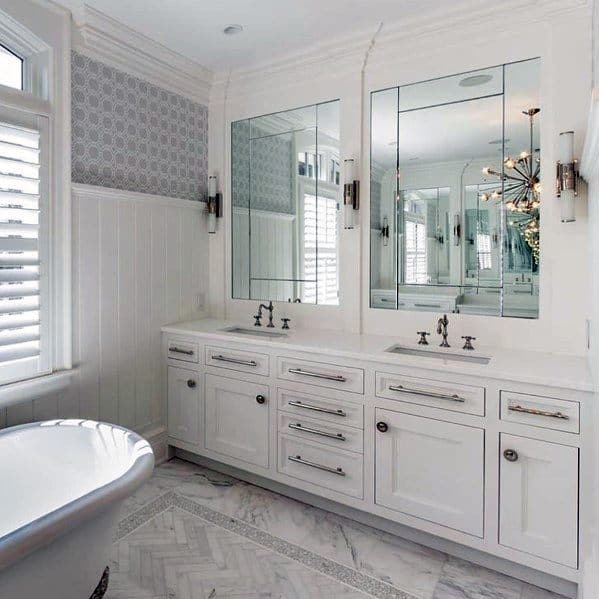 Traditional Home Painted White Bathroom Vanity Ideas