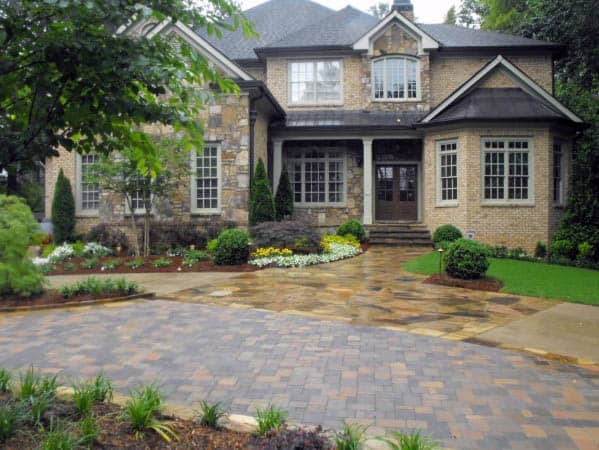 Traditional Home Paver Driveway Landscaping Ideas