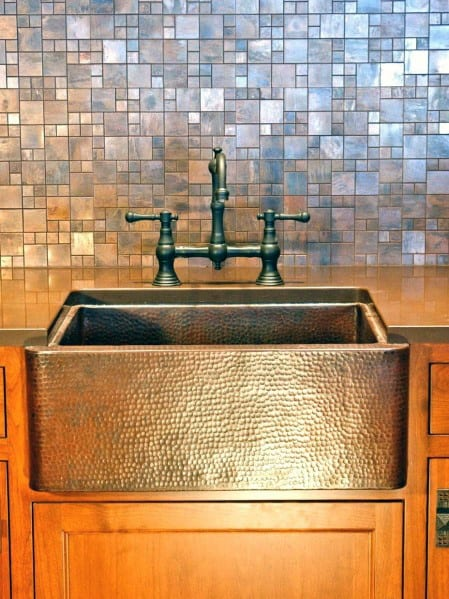 Traditional Home Square Tile Metal Backsplash Ideas