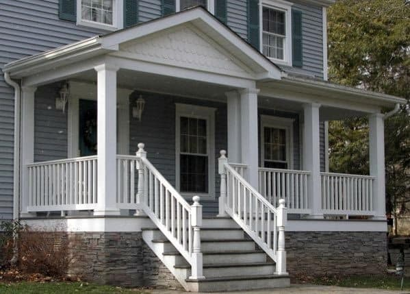 Traditional Home Stone Front Porch Deck Skirting