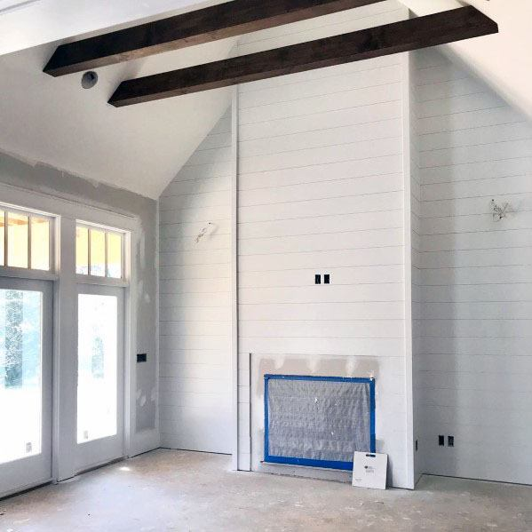 Traditional Home Wood Beams Design Ideas Vaulted Ceiling With Shiplap Walls