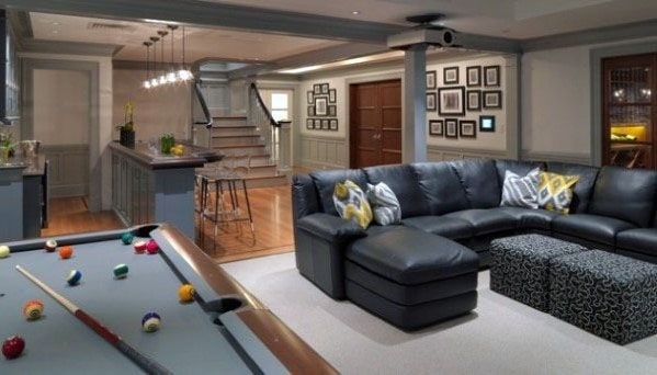 Traditional Homes Finished Basement With Sectional Couch And Pool Table