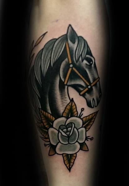 Traditional Horse Tattoos For Gentlemen