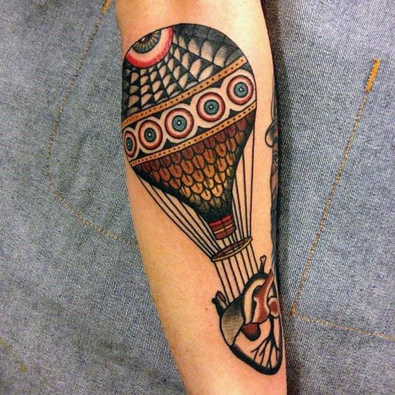 Traditional Hot Air Balloon Heart Mens Leg Tattoo
