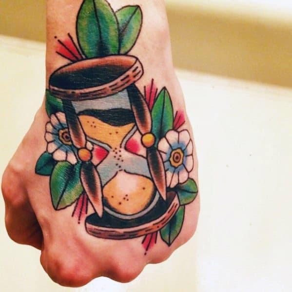 Traditional Hourglass Flower Mens Hand Tattoo