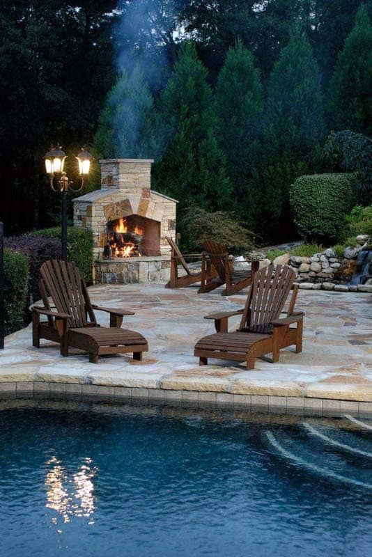 Traditional House Backyard Fireplace Design Ideas