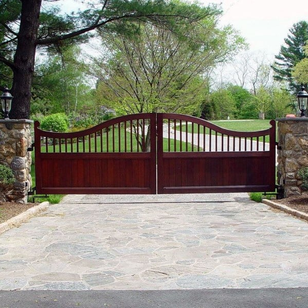 Traditional Ideas For Driveway Gates Stained Wood