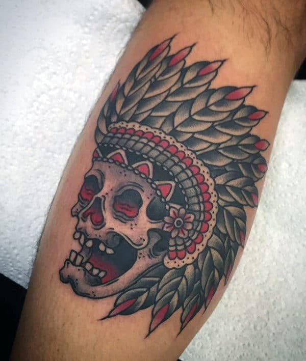 Traditional Indian Skull Mens Leg Calf Tattoo Ideas