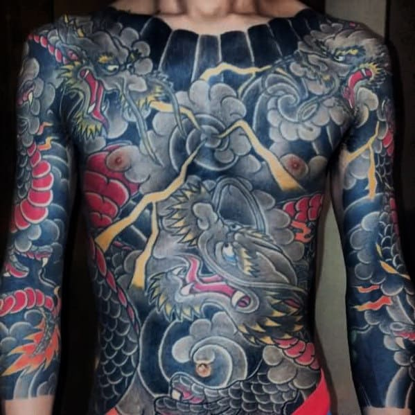 Traditional Japanese Dragon Full Chest Tattoos For Gentlemen
