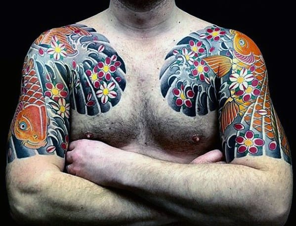 Traditional Japanese Male Flower And Koi Fish Tattoo On Upper Chest