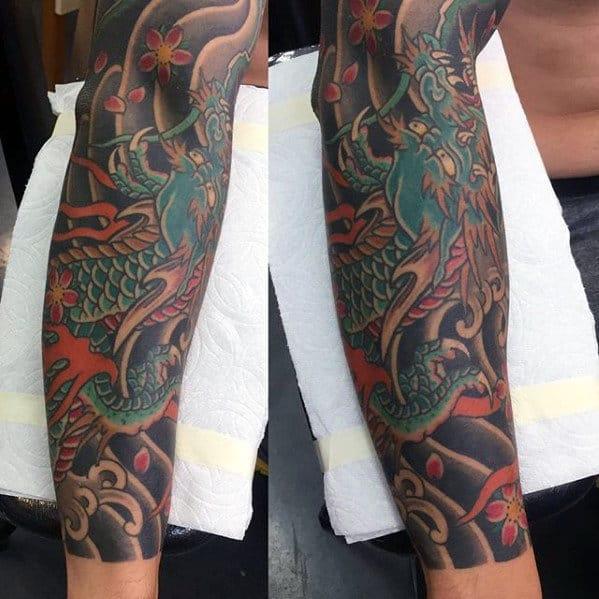 Traditional Japanese Male Forearm Sleeve Green Dragon Tattoo